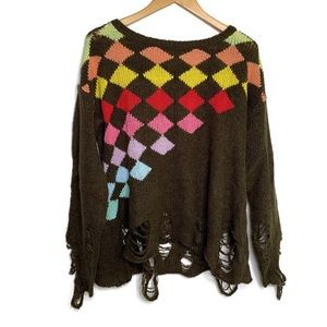 Wildfox Brown Distressed Colorful Diamond Knit Top